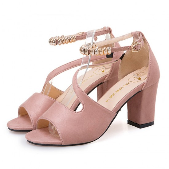 c5534491c07 Buy Formal Style Pink High Heeled Beaded Buckle Sandals Shoes ...