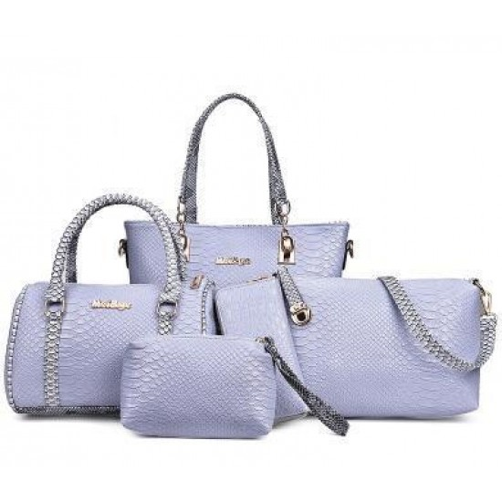Grey Color 5 Piece Snake Pattern Ladies Hand bags Set