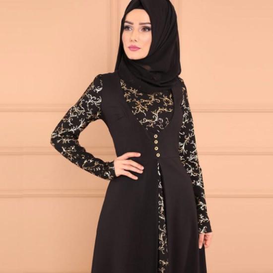 Elegant Arabic Style Long Sleeve maxi Abaya-Black