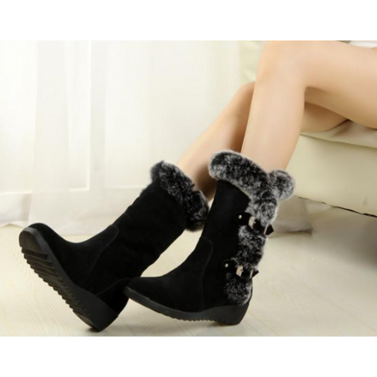 New Winter Women Boots Casual Warm Fur Mid-Calf Boots shoes - Black