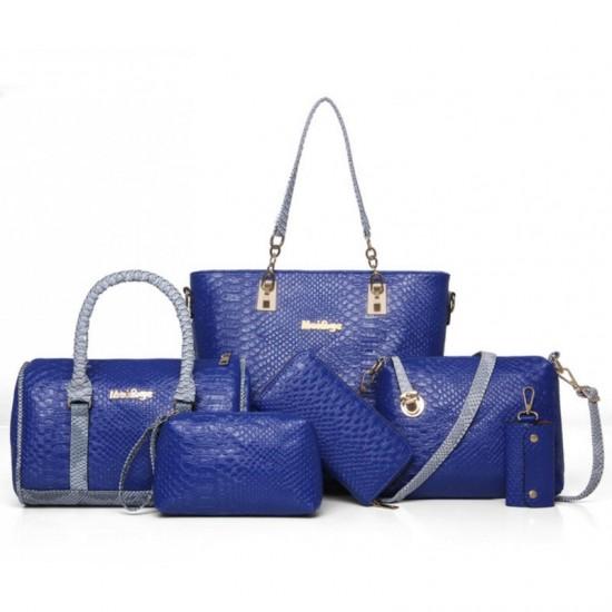 Blue 5 Piece Snake Pattern Ladies Hand bags Set