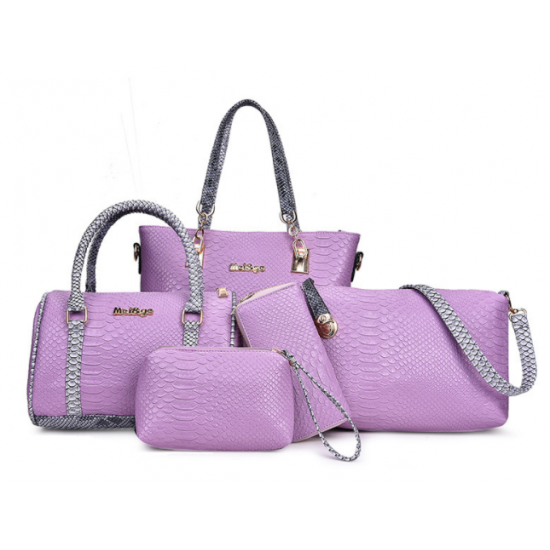 Purple 5 Piece Snake Pattern Ladies Hand bags Set
