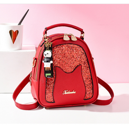 New Glitter Portable Sequins With Bear Backpack - Red