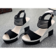 Black Comfortable High Wedge Sandals