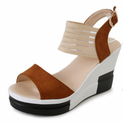 Brown Color Comfortable High Wedge Sandals