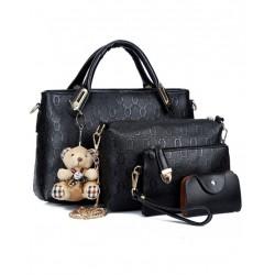 Womens Black Color Four Piece Shoulder Hands & Key Bags Set