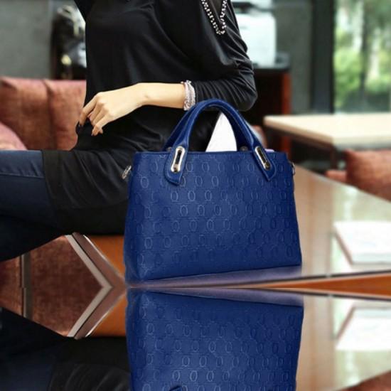 Womens Blue Color Four Piece Shoulder Hands & Key Bags Set