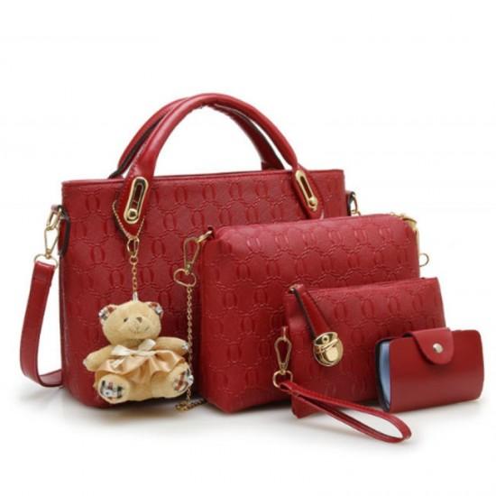 Women Red Color Four Piece Shoulder Hands & Key Bags Set