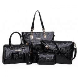 Worsely Black 6 Piece Crocodile Pattern Ladies Hand bags Set