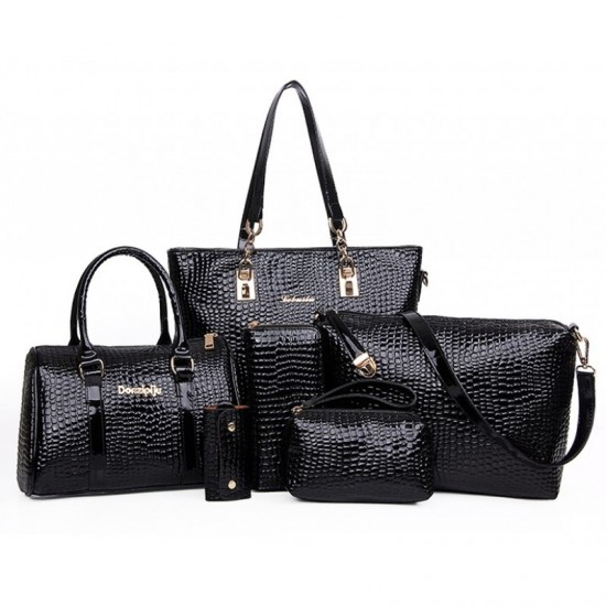 Worsely Black 6 Piece Crocodile Pattern Ladies Hand bags Set