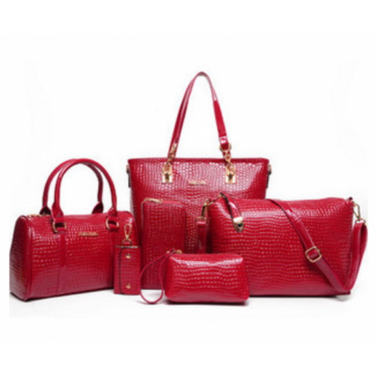 Worsely Red 6 Piece Crocodile Pattern Ladies Hand bags Set