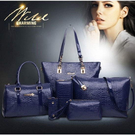 Worsely Blue 6 Piece Crocodile Pattern Ladies Hand bags Set