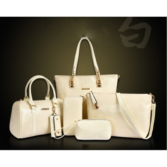 Worsely Cream 6 Piece Crocodile Pattern Ladies Hand bags Set
