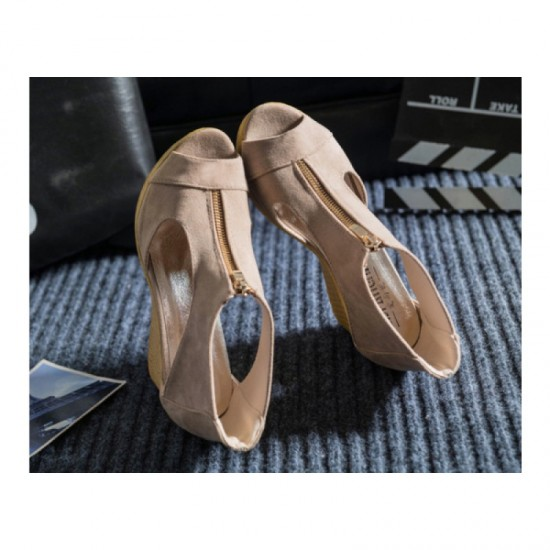 Beige Color Suede Wedge Sandals For Women image