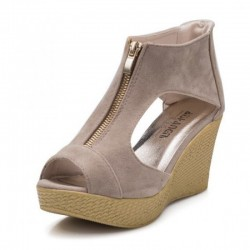 Beige Color Suede Wedge Sandals For Women
