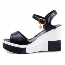 Women Summer Slope Fish Mouth Black High Wedge Sandals