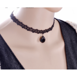 Women Fashion New Water Droplets Black Lace Necklace
