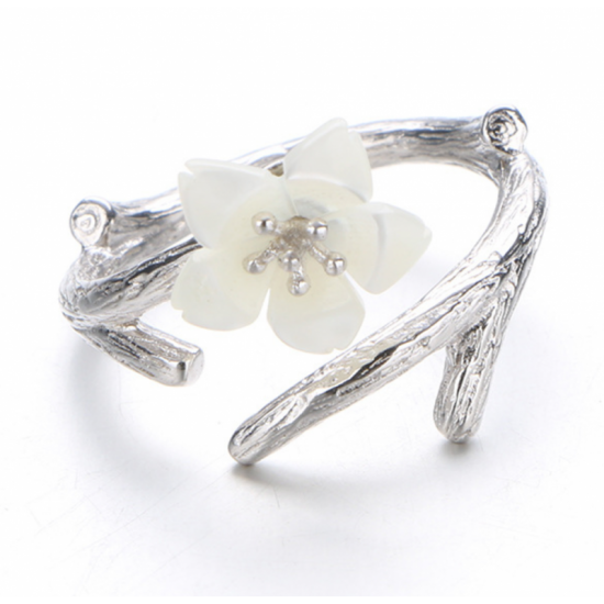 White Color Wind Cherry with White Petals Open Hands Ring