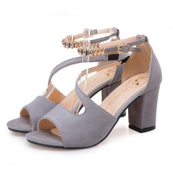 Formal Style Grey High Heeled Beaded Buckle Sandals Shoes