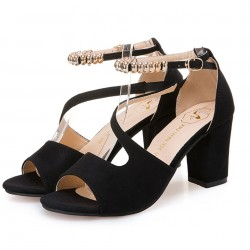 Formal Style Black High Heeled Beaded Buckle Sandals Shoes