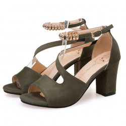 Formal Style Green High Heeled Beaded Buckle Sandals Shoes