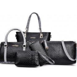 Black 5 Piece Snake Pattern Ladies Hand bags Set