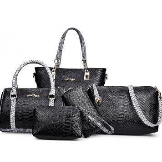 Black 5 Piece Snake Pattern Ladies Hand bags Set