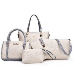Cream Color 5 Piece Snake Pattern Ladies Hand bags Set
