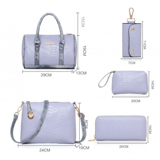 Cream Color 5 Piece Snake Pattern Ladies Hand bags Set image