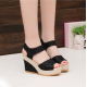 Black Color High Wedge Sandals For Women image