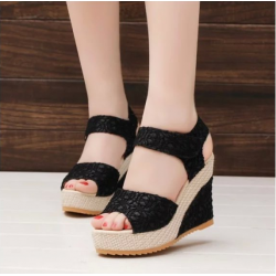 Black Color High Wedge Sandals For Women