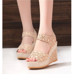 Golden Color High Wedge Sandals For Women