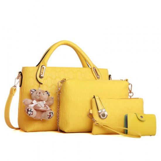 Women Yellow Color Four Piece Shoulder Hands & Key Bags Set image