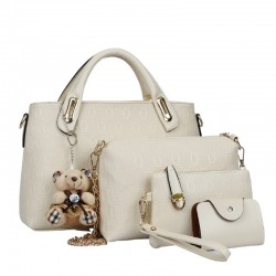 Women Cream Color Four Piece Shoulder Hands & Key Bags Set