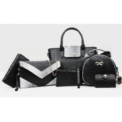Korean version Black 6 Piece Snake Pattern Ladies Hand bags Set