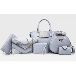 Korean version Grey 6 Piece Snake Pattern Ladies Hand bags Set