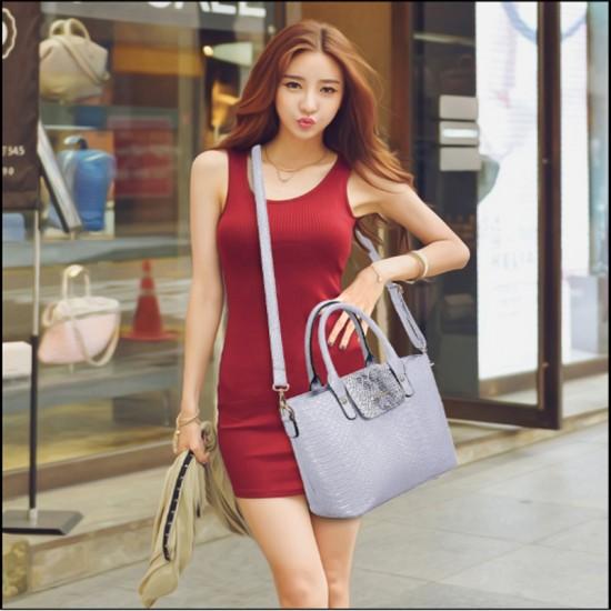 Korean version Grey 6 Piece Snake Pattern Ladies Hand bags Set