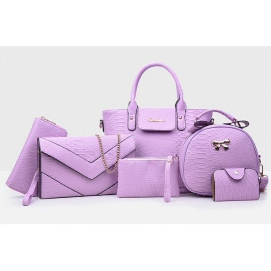 Korean version Purple 6 Piece Snake Pattern Ladies Hand bags Set