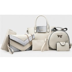 Korean version Cream 6 Piece Snake Pattern Ladies Hand bags Set