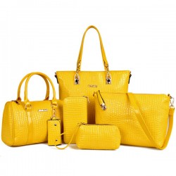 Worsely Yellow 6 Piece Crocodile Pattern Ladies Hand bags Set