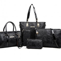 Black Color 5 Piece crocodile pattern Ladies Hand bags Set