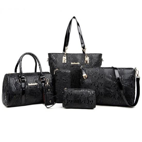 Black Color 5 Piece crocodile pattern Ladies Hand bags Set