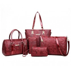 Red Color 5 Piece crocodile pattern Ladies Hand bags Set