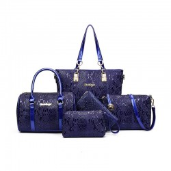 Blue Color 5 Piece crocodile pattern Ladies Hand bags Set