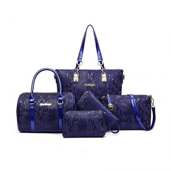 Blue Color 5 Piece crocodile pattern Ladies Hand bags Set image