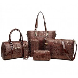 Brown Color 5 Piece crocodile pattern Ladies Hand bags Set