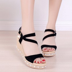 Pearl High Heels Wedge Sandals