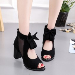 Peep Toe Black Heel Trendy Sandals