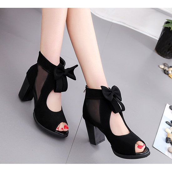Peep Toe Black Heel Trendy Sandals
