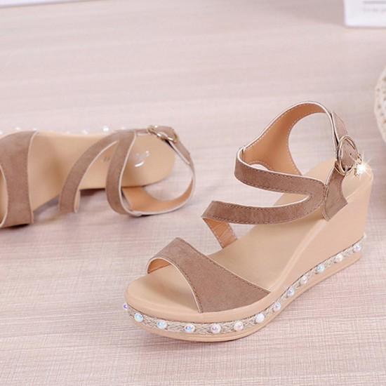 Pearl High Heels Wedge Sandals image